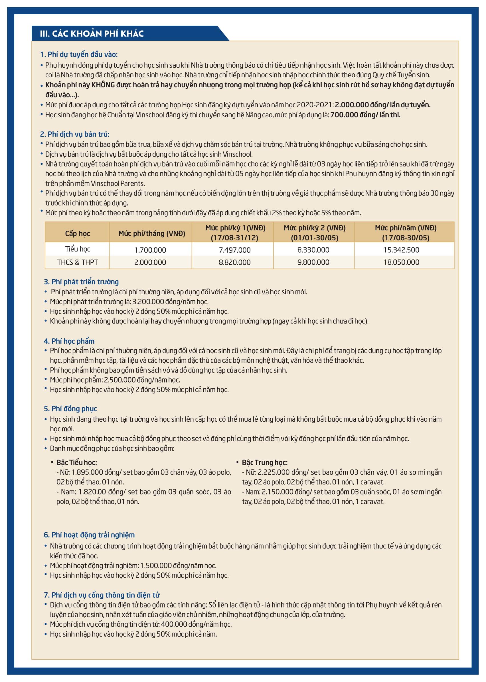 Học phí trường Tiểu học, Trung học Vinschool (Miền Nam) năm học 2020 - 2021